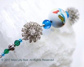 Glass & Silver Urchin Bracelet