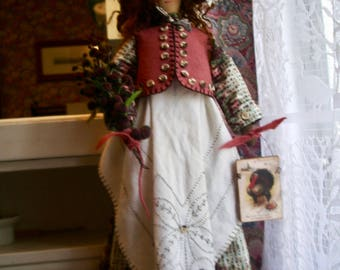 "Handmade Folk Art  Primitive 22""-  Thelma's Thanksgiving"