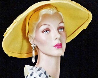 1950s Dimpled Brim Pancake Hat Yellow New Look Evelyn Model #1402