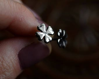 St. Patrick's Day Earrings - Four Leaf Clover Studs - Stud Earrings - Shamrock - Good Luck - Luck of the Irish - Clover Earrings - Silver