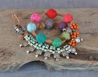 Hippie Gemstone Bracelet,  Boho Handmaded Beaded Bracelet,  Silver Bohemian Bracelet,  Wrist Wrapped Bracelet,  Leather Textile Bracelet