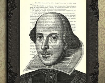shakespeare poster, shakespeare print, book page print, Shakespeare portrait on dictionary page