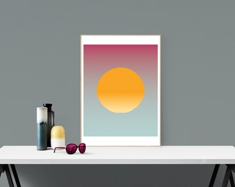 Moment - Sunset Illustration - Graphic Design Poster Art  16x20 A2 Retro Abstract