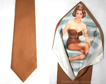 Camel Brown Men's Tie with Leopard Pin-Up Girl Lining - Authentic 1950s Deadstock - Mens Necktie - Pin Up Model - 50s 60s - 32711-1