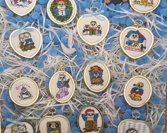 Cross stitch pattern books Heavenly Birds and Dale Burdett Friends and Sam Hawkins tea towel designs