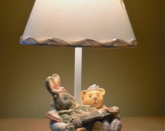 Vintage Nursery Lamp, Figi Graphics Children's Room Lamp, Nursery Lamp, Bunny and Bear Lamp, Quiet Time Lamp, Child's Lamp