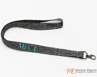 Personalized Lanyard, Keychain ID Badge Holder, Teachers Gift