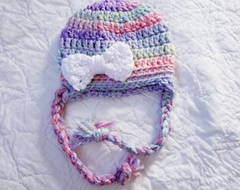 6 to 12 Months, Crochet Baby Girl Hat, Crochet Baby Hat, Infant Girl Hat, Baby Girl Beanie, Photo Prop, Ear Flap Hat, Spring Hat