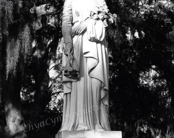 "Cemetery Series ""Grief No.1"" Unframed Photography Giclée Print. ChyaCyn productions. Graveyard in Savannah GA. Standing Grieving Lady Statue"