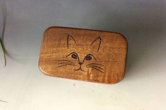 Cat Box - Wood Box with Engraved Cat - Wooden Box of Mahogany - Small Wood Box, Business Card Box, Jewelry Box, Cat Lover Box, Cat Gift Box