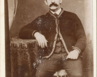 Cabinet Card of man with mustache