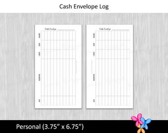 Personal: Cash Envelope Log • Budget Binder Printable Page Insert for Personal sized Disc / Ring Bound Planner • INSTANT DOWNLOAD