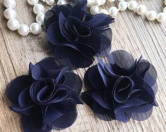 Set Of 3 Petite Navy blue Chiffon Ruffle flowers - Chiffon Flowers - Small fabric flower - Wholesale Fabric Flowers - Navy Chiffon Flower