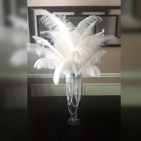White Ostrich Feather Centerpiece 20 Trumpet Vase With