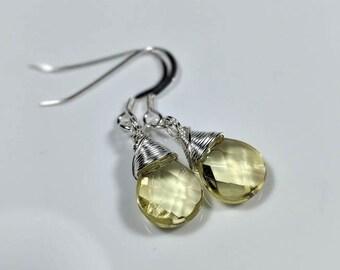 Sterling Silver Earrings Wire Wrapped Quartz Glass Briolette Dangle Earrings