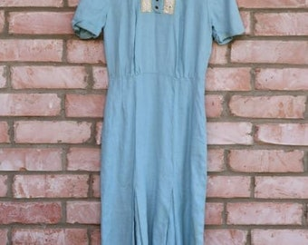 Vintage Linen Mermaid style dress with pockets