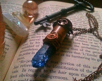 Copper and blue quartz crystal vintage styled necklace