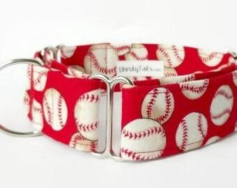 Baseball Custom Dog Collar - Martingale Collar or Side Release Buckle Collar - Classic baseballs on red