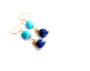 Blue Gemstone earrings Turquoise and Lapis Lazuli Earrings 14Kt goldfilled Under 100 VitrineDesigns