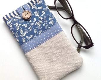 Glasses case - Spectacle case - Eyeglasses case - 'Flora' Print - Fabric glasses pouch - Gift for mum