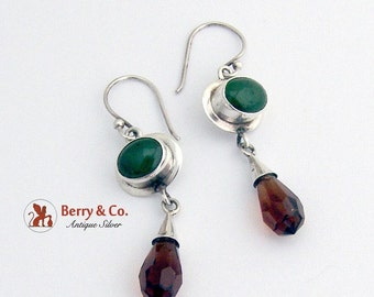 SaLe! sALe! Dangle Earrings Nephrite Jade Brown Glass Sterling Silver