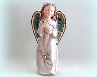 Angel Figurine Angel Statue Christmas Angel Decor Large Angel Sculpture Ceramic Angel Figure Guardian Angel Gift Christmas Gift Under 40