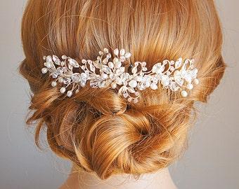 Bridal Hair Comb, Freshwater Pearl Wedding Hair Comb, Crystal Flower Leaf Hair Jewelry, Bridal Hair Vine, Wedding Hair Accessories, IZARRA
