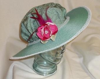 Seafoam Green Edwardian Picture Hat- Downton Abbey, Titanic, Ascot, Kentucky Derby Style