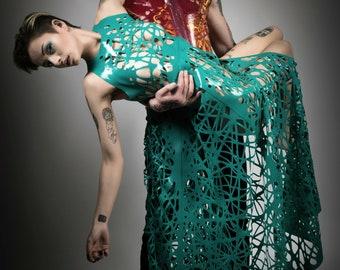 Alexa Bird's Nest Mesh Latex Maxi Dress in Teal or ANY Colour