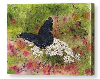 Mother's Day Gift Idea Black Butterfly Queen Annes Lace  Watercolor Canvas 8x10 Print and 11x14 Print from Original Art