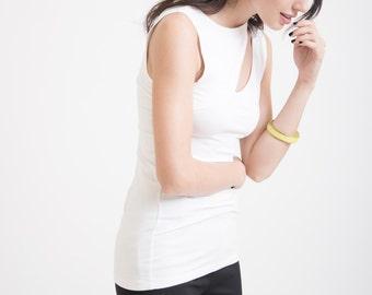 Sleeveless Top / Women's Blouse / Tube Top / Asymmetric Blouse / White Top / Black Shirt / Marcellamoda - MB0255