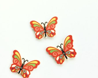 3 Red Butterfly Buttons - Flatback Buttons - Woodend Buttons - Scrapbook Buttons Notions Embellishments Mixed Buttons - Craft Supplies