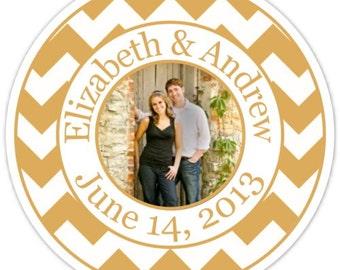 Wedding PHOTO Stickers, Chevron Labels, Chevron Wedding Stickers, Custom Bride and Groom Labels, Personalized for You
