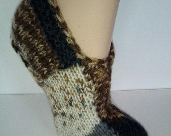 Hand Knit Wool Slipper Socks  Knit Indoor socks  Socks for Sleep  Knitted Wool Slipper Socks  Wool socks for women