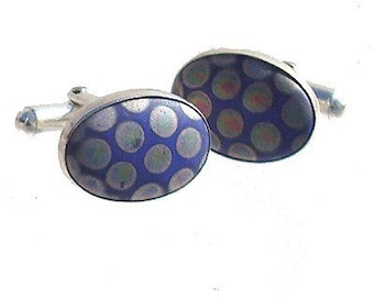 Vintage Porcelain Tile silver cufflinks in Blue