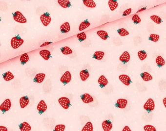 Cotton muslin double gauze strawberries on pink (10.90 EUR / meter)
