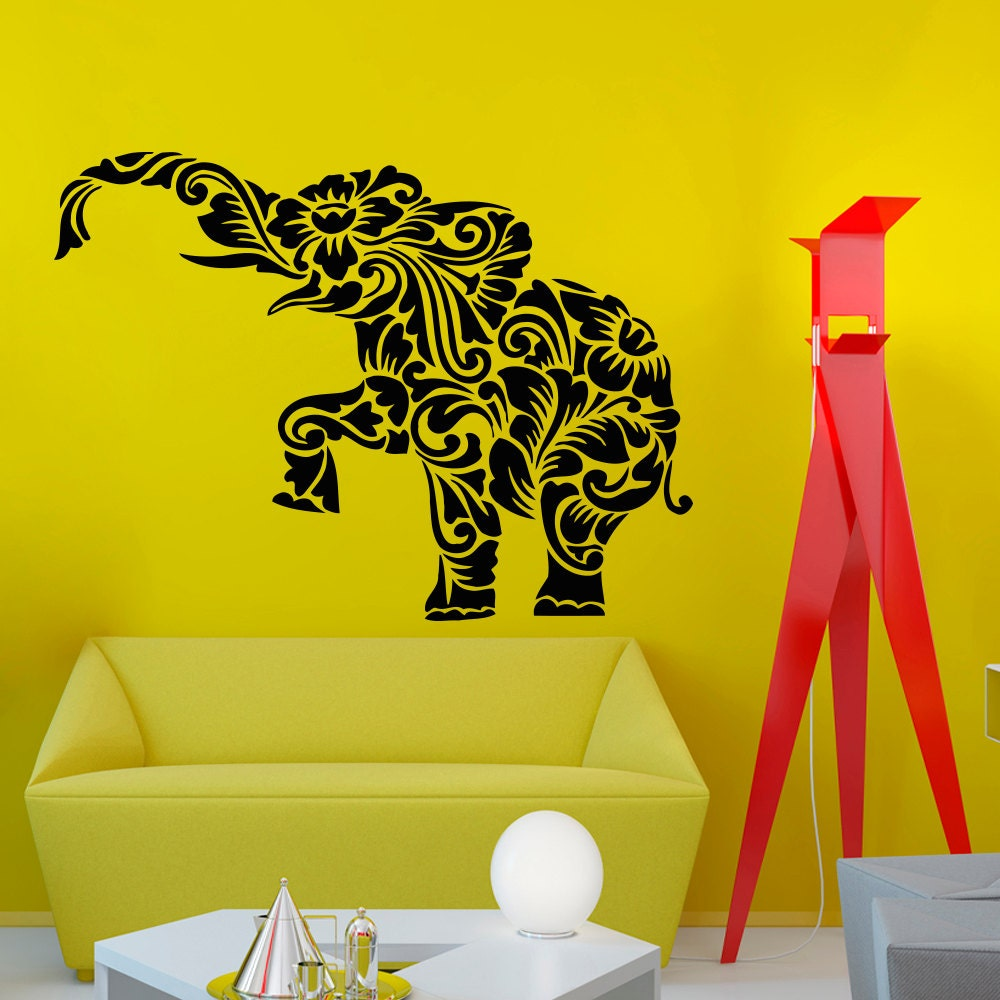 Elephant Floral Pattern Wall Vinyl Decal Sticker Wall Decor