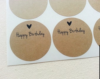 60 Happy Birthday Labels. Rustic Kraft Round Labels Stickers Seals for Birthday Party Favors. Once Upon Supplies