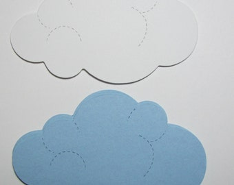 Large Cloud Die Cuts, hand punched from cardstock (24 total).