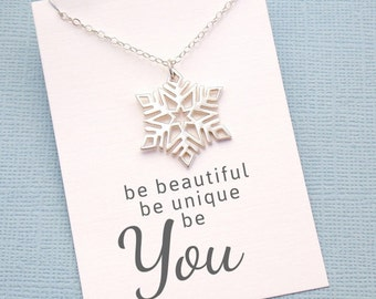 Snowflake Necklace | Be Unique, Be You, Christmas Gift, Winter Wedding, Gift for Her, Bridesmaid Gift, Bridesmaid Ideas | Silver | X02
