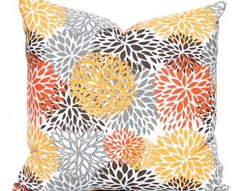Throw Pillow Cover - Fall Decor - Orange Pillow Cover - Sofa Pillow Cover - Thanksgiving Decor - Floral Pillow Cover - Decorative Pillow