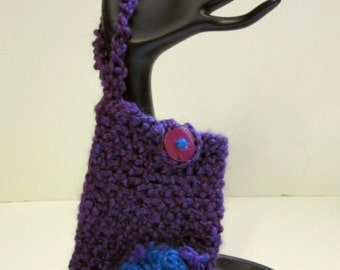 Cell phone Cover, Camera Case, Crochet Tote, Handmade Cover for Phone or Small Electronics, Wrist Strap, Button Closure, Blue/Purple