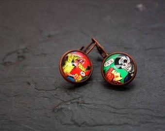 comics glass cabochon Stud Earrings