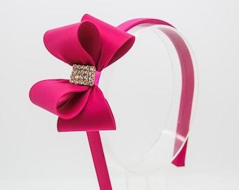 Hot Pink Bow Headband, Girl's Headband, Toddler Headband, Pink Hard Headband, Bow Hard Headband, Flower Girl Headband, Girl Headband, 970