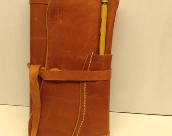 Handcrafted leather journal cover with journal