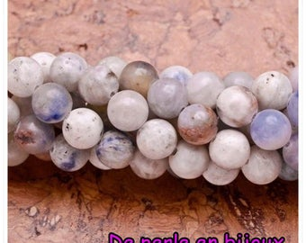 10 PCs - Pearl Jasper 6 mm natural white and blue, 6mm bead semi precious