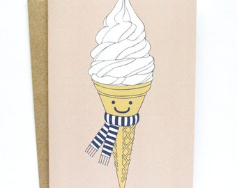 Happy Ice Cream Card - Illustrated Greeting Card - Christmas Card