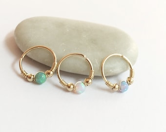 Set of 3 tiny cartilage earrings, opal helix ring, small cartilage hoop gold, cartilage earring, helix cartilage ring, cartilage piercing