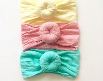 SET of (3) TURBANS Head wraps Bows, Fabric cotton knot headbands, Large pack of girls hairwraps  pink aqua ivory nylon
