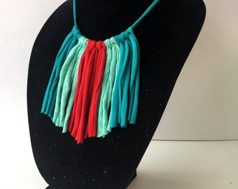 Arrow Fringe Necklace, Native American Tribal Inspired, South Western, Recycled T-Shirt Jewelry, Upcycled Eco-Friendly Gift for Her